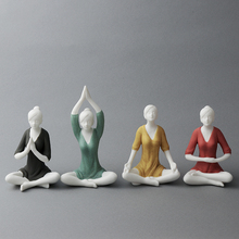 ceramic beauty Yoga girls lady statue home decor crafts room decoration objects yoga ornament porcelain figurine sports