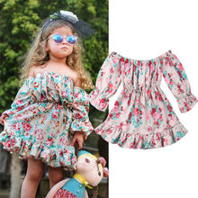 Toddler Kids Flower Dress For Girls Long Sleeve Baby Girl Dress Off Shoulder Princess Party Holiday Dress Baby Girls Clothes