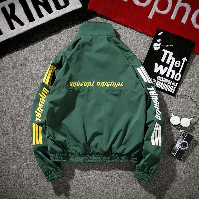 Sleeve printed vintage zip jacket, men's stand collar trench coat, men's hip hop loose coat, men's thin jacket green black 5xl