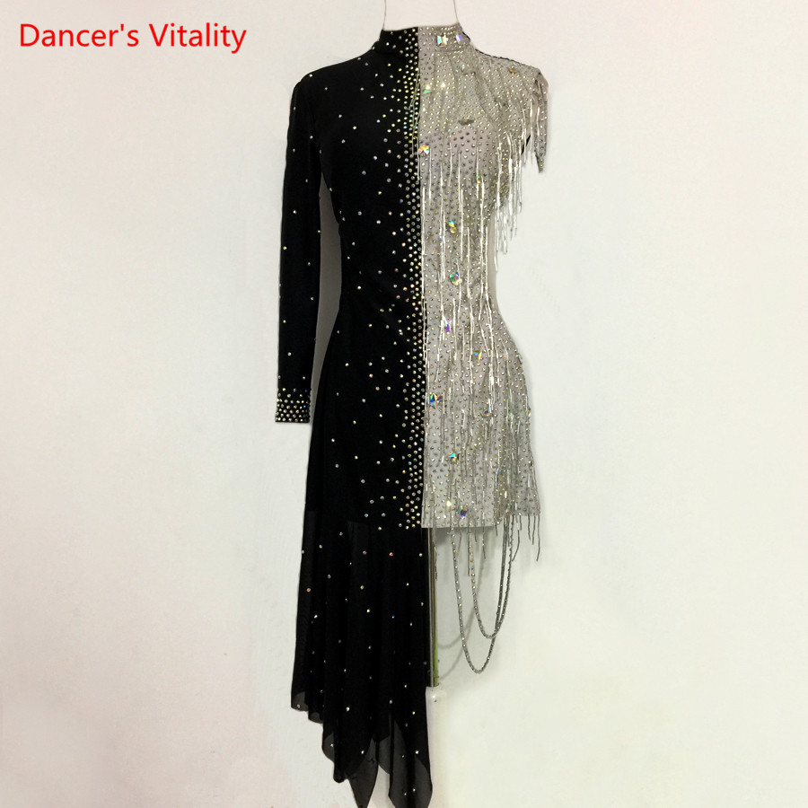 Lady Performance Dress Women/Children Latin Dance Clothes Latin Dance Dress Girls Stones Latin Dance Dresses Dancer Clothing