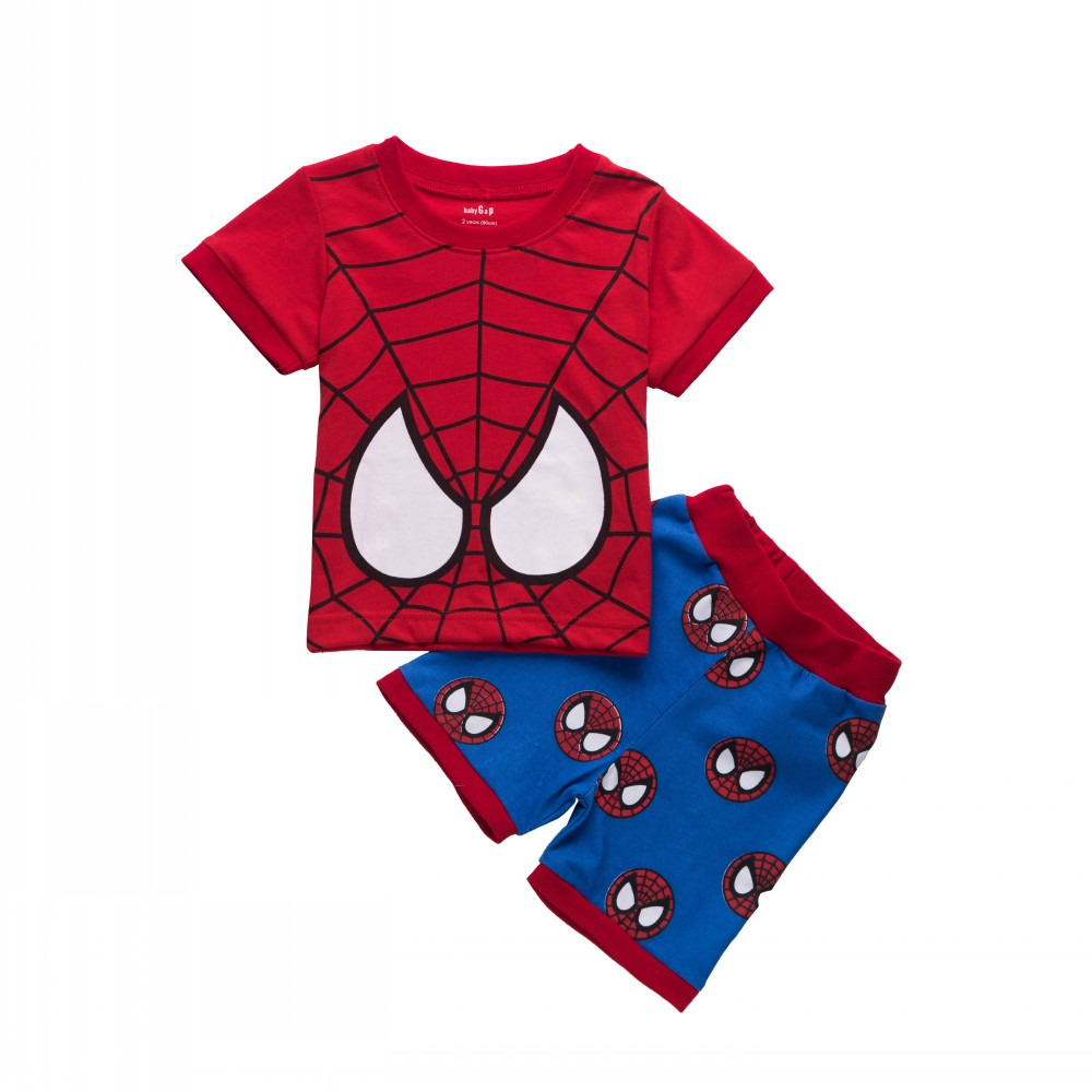 Toddler Kids Boy Girl Spiderman Batman T-shirt Tops +Short Pants Clothes Set  Baby Summer Cotton Clothing summer baby boy clothes set cotton short sleeved mickey t shirt striped pants 2pcs newborn baby girl clothing set sport suits