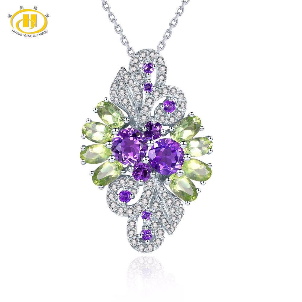 Hutang Natural African Amethyst Peridot Solid 925 Sterling Silver Pendant Necklace Gemstone Fine Stone Jewelry Women