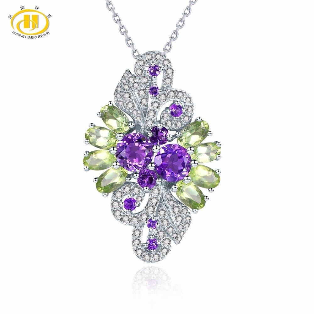 Hutang naturel africain améthyste & péridot solide 925 Sterling argent pendentif collier pierre gemme Fine pierre bijoux cadeau pour femmes