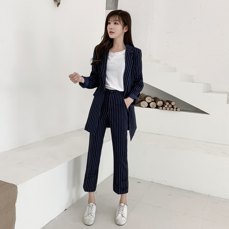 98725b4c111d96 Rayure Pantalon Bureau Costume Marine Veste Dame Travail Feminino ...