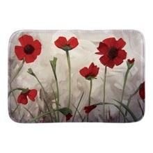 Red Poppy Flowers Decor Doormat Nature Scene Door Mats For Living Room Bedroom Soft Lightness Short Plush Fabric Floor Home Mat