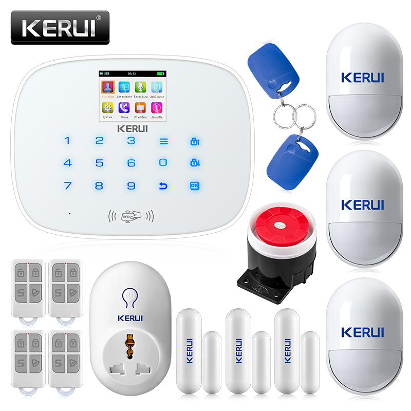 KERUI G19 RFID GSM Wireless Smart Home Security Alarm System DIY Kit with Auto Dial Smart Socket Motion Detector Senor Alarm цена