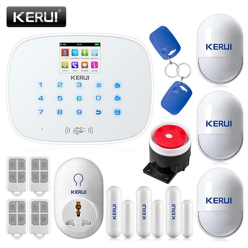 KERUI G19 RFID Sem Fio GSM Sistema de Alarme de Segurança Casa Inteligente Kit DIY com Discagem Automática Inteligente Tomada Detector de Movimento Senor alarme
