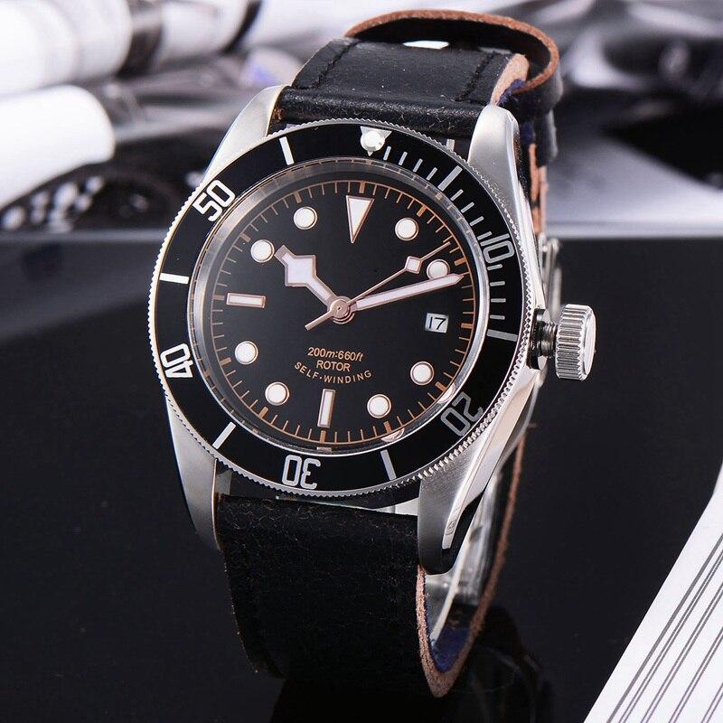 Corgeut 41 мм Мужские автоматические часы, черный стерильный циферблат ободок розовых золотых знаков сапфировое стекло Miyota 8215 движение WCA2010BR