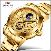 Men Watch TEVISE 3D Engraved Dragon Skeleton Waterproof Automatico Mechanical Creative Watches Relogio Masculino With Gift Box
