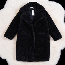 Women Winter Black Faux Fur Coat Thicken Warm Female Artificial Fur Coats And Jackets Solid Color Coat Of Faux Fur A2656