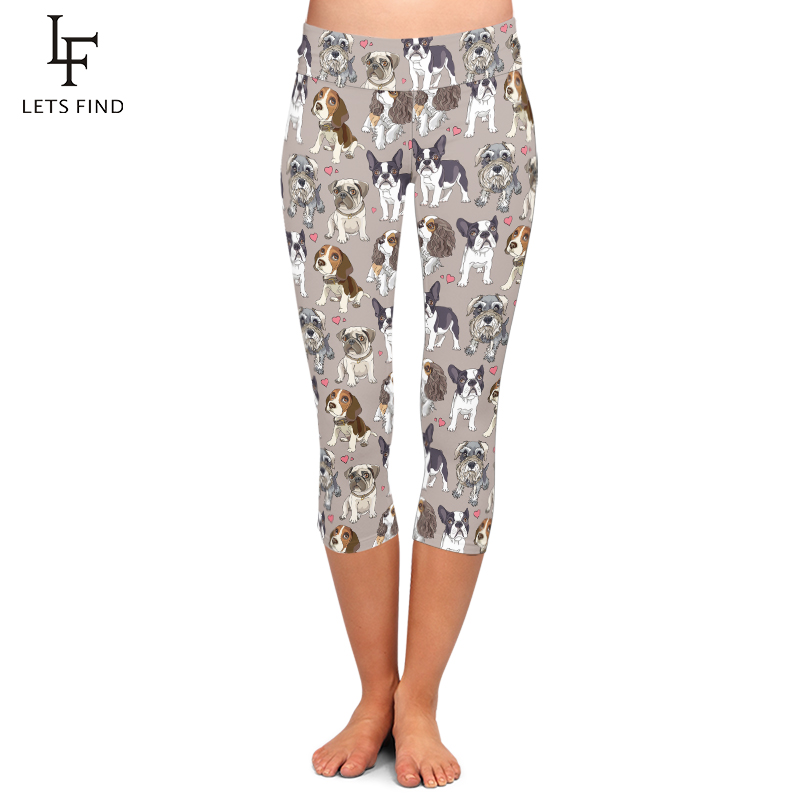 Summer New Animal Cute Dog Print High Waist Capri Leggings Fashion Mid-Calf 3/4 Plus Size High Elastic Milk Silk Leggings