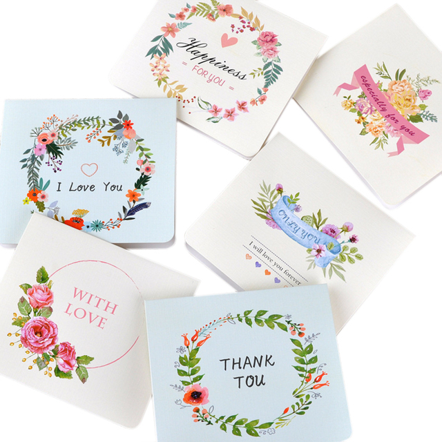 60pc Pack Creative Garland Greeting Card Flower Mini Thanksgiving Birthday Cards Christmas New Year Message