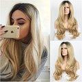 Aspecto natural blonde onda del cuerpo del cordón sintético peluca delantera con raíces oscuras de alta calidad negro/rubia ombre resistente al calor pelo de la fibra