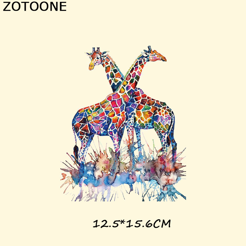 ZOTOONE Iron on Watercolor Animal Patches for Clothes DIY Heat Transfer Vinyl Washable Stickers Lion Owl Tiger Patch Decoration in Patches from Home Garden
