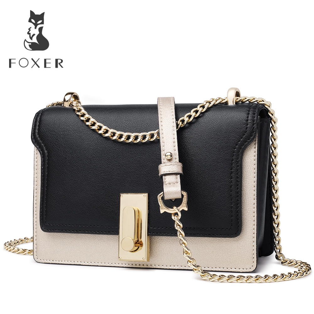 FOXER Brand Chain shoulder strap Women Korean Style Chic Flap Bag Shoulder Bags Lady Fashion Small