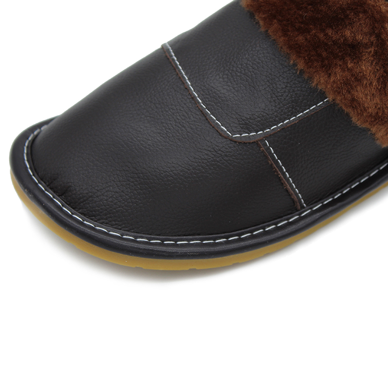 2020 Genuine Leather Slippers Home Slippers  High Quality Women Men Slippers Plush Warm Indoor  Shoes Men  Women Size 35-44 5