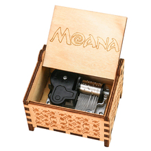 Moana Music Box 18 Note Windup Clockwork Mechanism Engraved Wood Music Box for Kids,Play How Far I'll Go