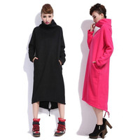 2019 Autumn Winter Women Long Irregular Hoodie Plus Size L 6XLLoose Casual Long Sweatshirt Add Velvet Thicken Hooded outwear coa