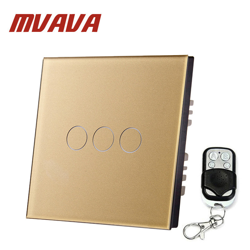 MVAVA EU Standard 3 Gang 1 Way Remote Control Light Switch Golden Crystal Glass Panel Touch Switch Wall Switch For Smart Home funry eu 1 gang 1 way wall switch remote control light switch waterproof crystal tempered glass touch switch for smart home