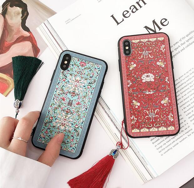 ad30349eb935 Wixcen Vintage Chinese Style Floral Phone Case for Iphone 6 6s 7 8 Plus X  Red Blue Soft Tpu Tassel Case Colorful Back Cover