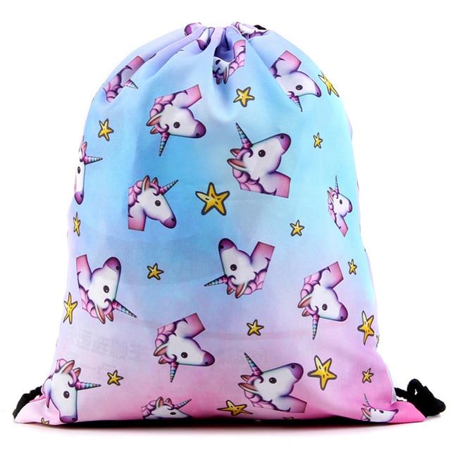 Bag Escolar Backpack Harajuku Drawstring Bag Galaxy 3D Printing Travel  Softback Mochila Unisex Backpack Minina