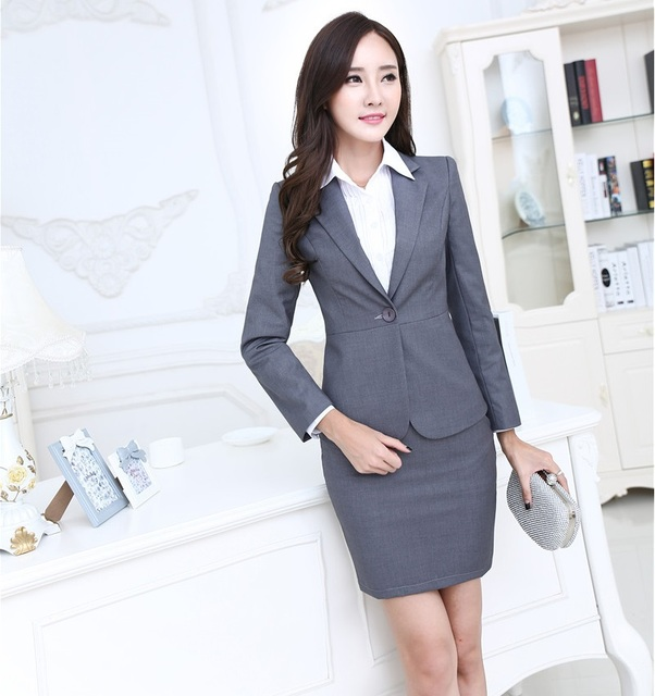 903c28bf24d3f Plus Size 3XL Professional Formal OL Styles Work Wear Suits With Tops And  Skirt Spring Autumn