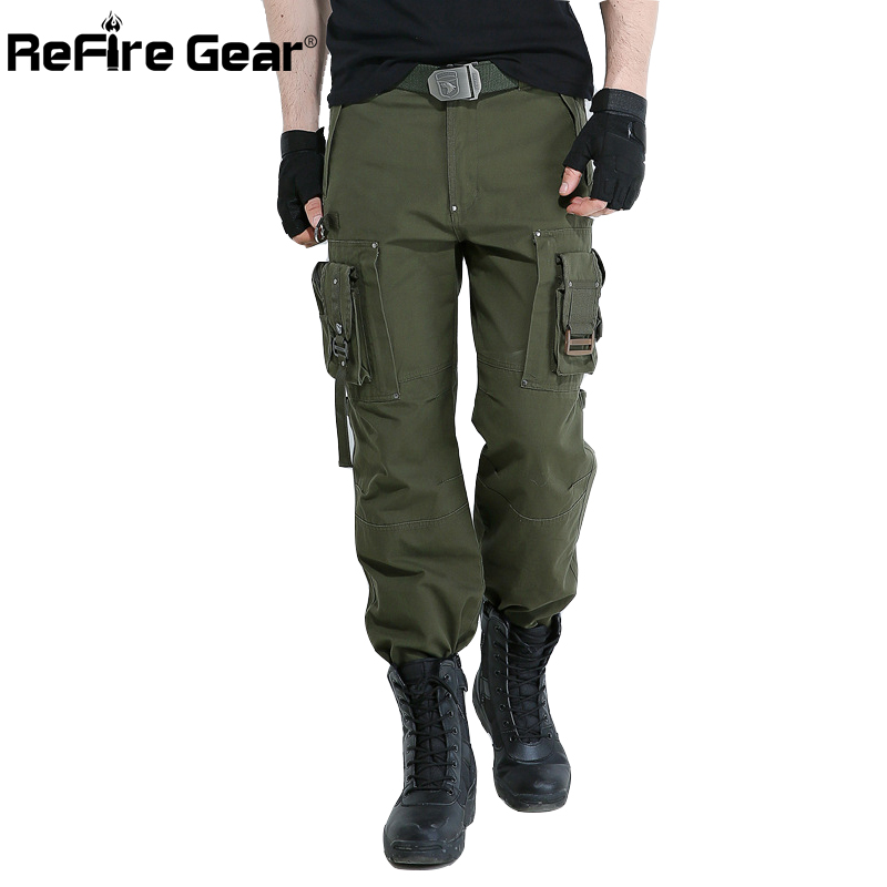 ReFire Gear Army Force 101th Airborne Military Pants Men SWAT Police Combat Tactical Cargo Pants Airsoft Pockets Cotton Trousers