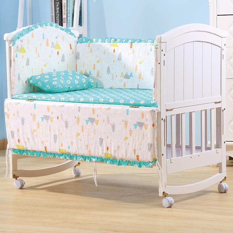 Baby Crib Bedding Set Boy Girl Cot Bumper Set Infant Children Nursery Baby Bed Organizer Bumper Pillow Mattress with Filling
