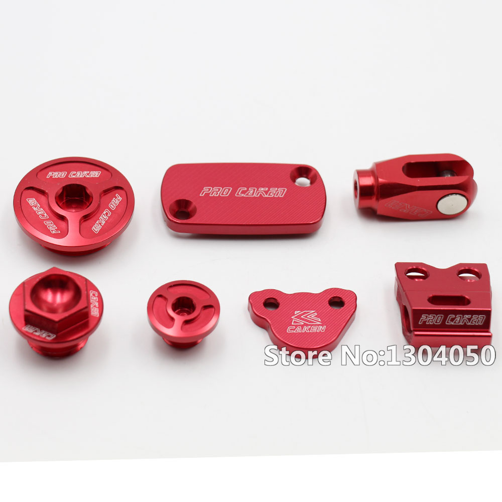 CNC Billet Rear Brake Clevis+Brake Reservoir Cover + Brake Hose Clamp+ Engine Plugs For CRF250R 250X 450R 450X Motorcross nicecnc cnc billet kit brake reservoir