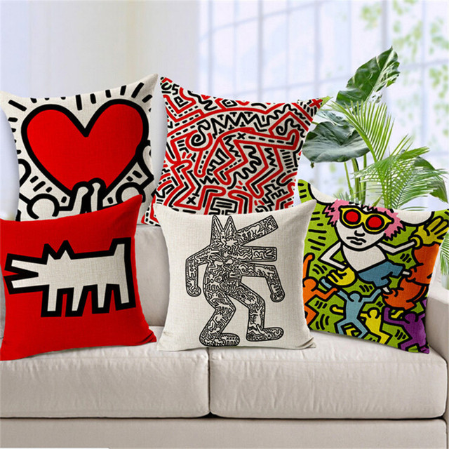 Decorative Throw Pillows Case Keith Haring Graffiti Paintings Seat Cushion  Cover Cotton Linen Pillowcase For Sofa