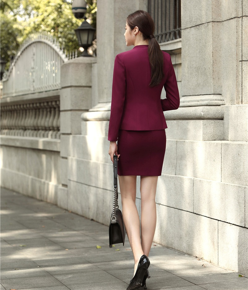 Femmes Ensemble Formelle Wine Et L'hiver De Bureau Vêtements Vin 2018 Blazers Les Costumes Pour Jupe Mode Travail Uniformes black Automne Vestes Avec D'affaires WRa6aqf