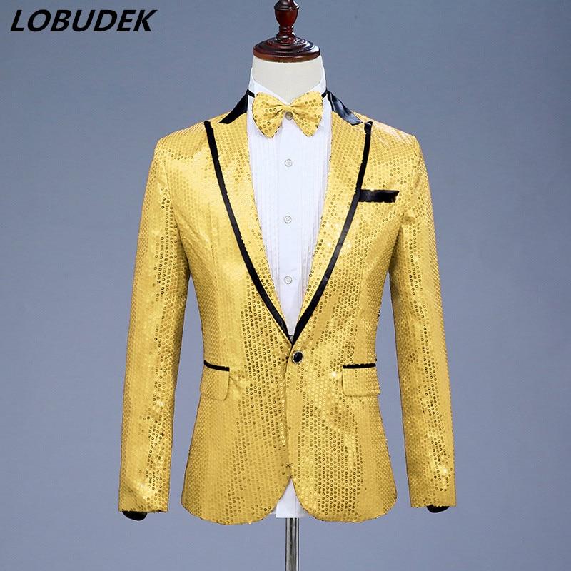aur blazer jacket outwear pentru cântăreț dansator stele - Imbracaminte barbati