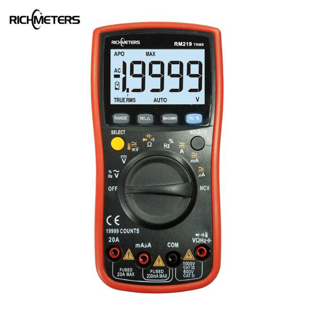 NCV RM219-True RMS 19999 Counts Multímetro Digital de Freqüência AC/DC Amperímetro Voltímetro Ohm Medidor Portátil medidor de tensão RICHMETERS