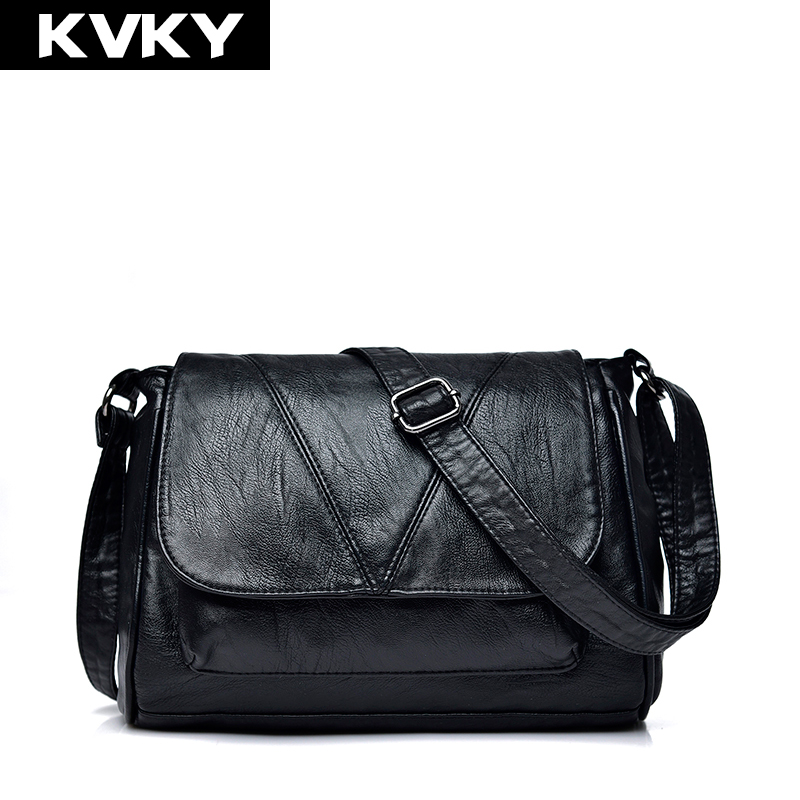 KVKY Brand Soft PU Leather Women Shoulder Bags Black Women Handbags Small Casual Totes Crossbody Bag Ladies Messenger Bag Bolsos