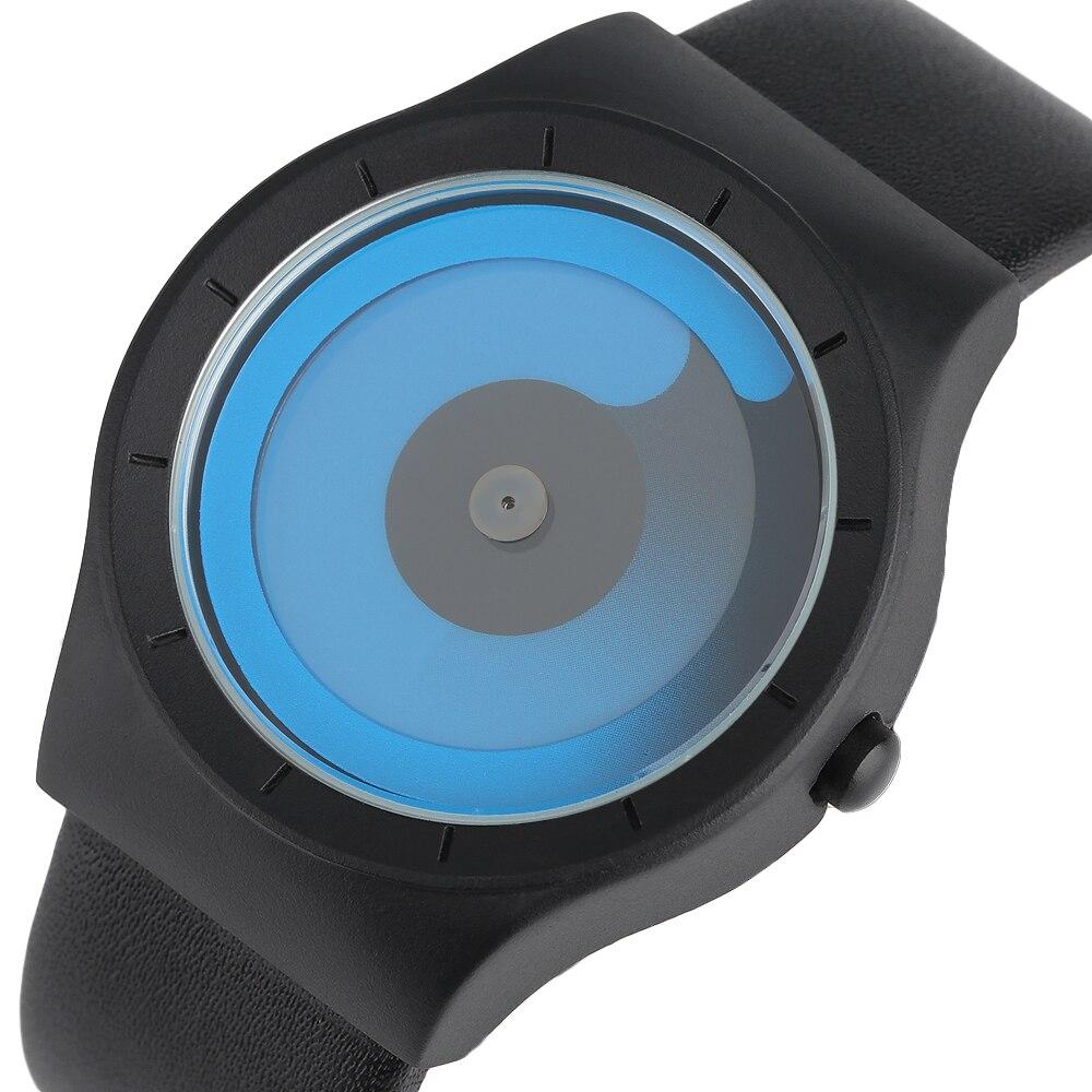 2017 moda creativa concepto relojes remolino azul puntero cuarzo Geek hombre deportes hora giradiscos Relogio Masculino