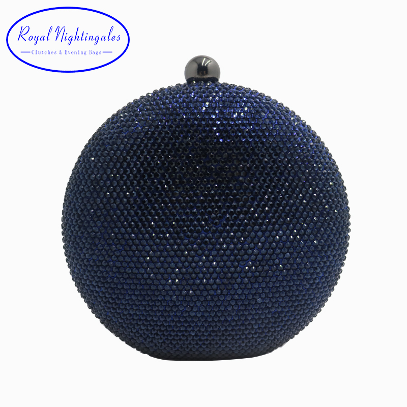 Pink/Navy Round Hard Case Crystal Box Clutch Bag Evening Bags for Womens Party Prom Wedding and Matching Shoes and Even Dress fawziya bird clutch bags for womens evening bag hard case rhinestone clutch