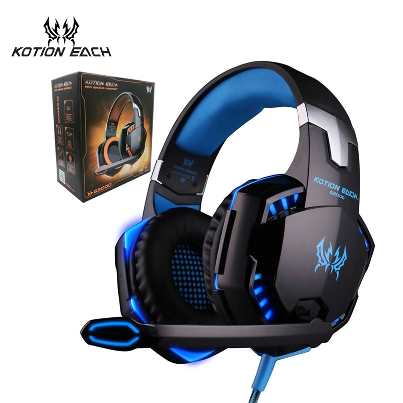 KOTION EACH G2000 Game Headset PC Gamer Stereo Surrounded Sound Deep Bass Over-Ear Gaming Headphone With Mic For Computer Game led bass hd gaming headset mic stereo computer gamer over ear headband headphone noise cancelling with microphone for pc game