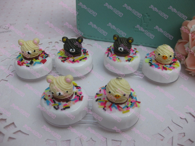 New Bear Cute Beautiful Birthday Cake Christmas Exclusive Fashion Design Contact Lenses Box Color Random 5pcs
