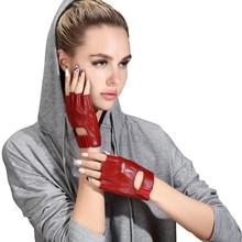 Ms. Real Leather Half Finger Gloves Female Summer Driving Non Slip Half Finger Fitness Sheepskin Semi Finger Woman Gloves NS09