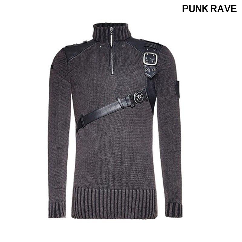 Gótico Heavy metal tachonado Conjunto jersey de cuero suéter Steampunk buen ajuste Retro militar hombres suéter PUNK RAVE M 035