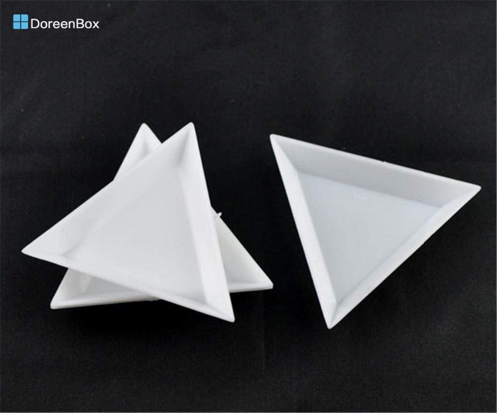Doreen Box Hot-  20 White Plastic Triangular Sorting Trays 64x73x10mm (B09156)