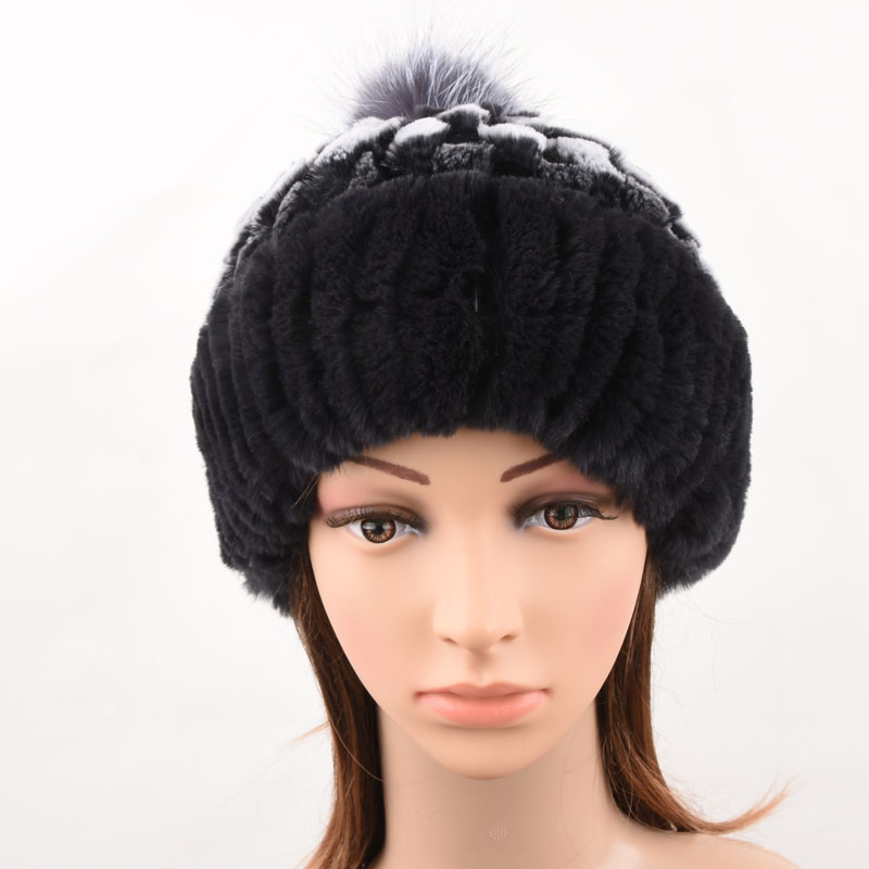 Rex Rabbit Fur Hat Women Winter Real Fur Caps With Pom Pom Silver Fox Fur Balls Hats Russian Ushanka Cap Hat Beanies For Women 2017 winter fur hat female rex rabbit fur hat with fox fur pom poms fur knitted beanies fashion high quality caps for women hats