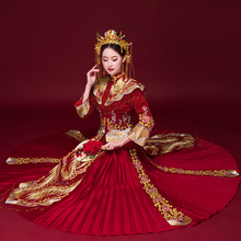 Traditional Qipao Ancient Vestidos Classic Chinese Wedding Dress with shawl Cheongsam Embroidery Phoenix Marriage Suit himachali shawl designs traditional to contemporary
