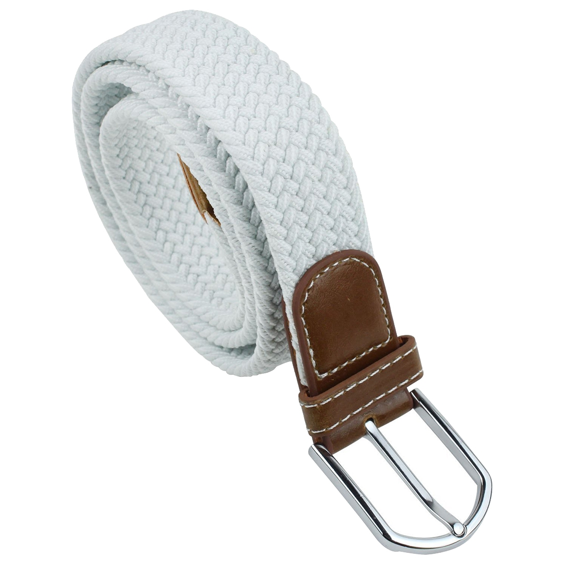 Unisex Braided Elastic Stretch Rubber String Belt (White,Brown Head)
