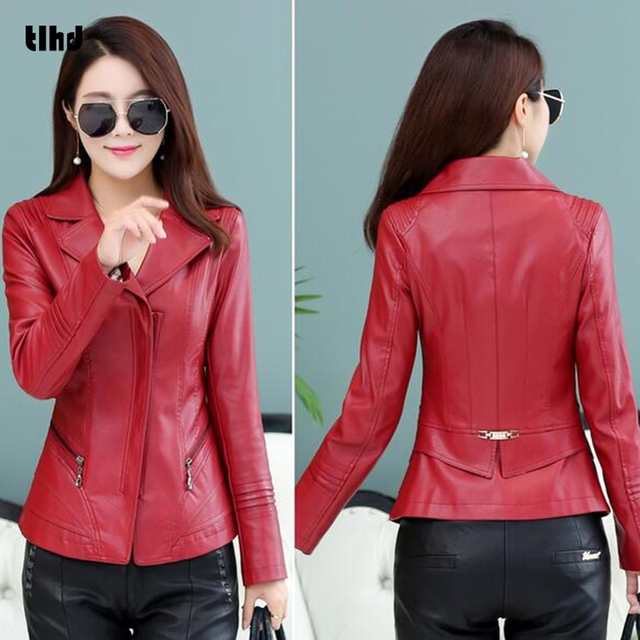 ab09db569 US $38.99 |TLHD New Fashion Women Wine Red Faux Leather Jackets Lady Bomber  Motorcycle Cool Outerwear Coat-in Leather & Suede from Women's Clothing on  ...