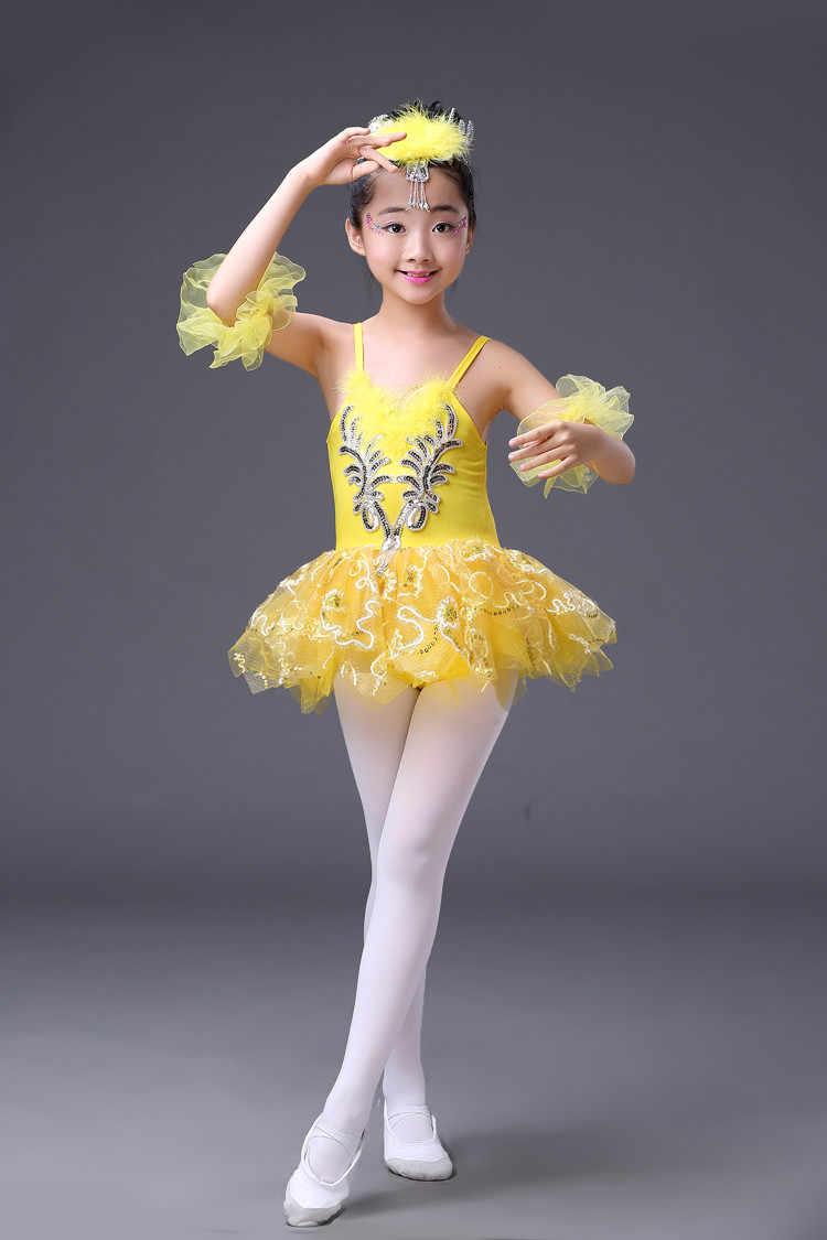 VernLan Kids Girls Ballerina Swan Lake Dance Performance Costumes Camisole Skirted Leotard Ballet Tutu Dress