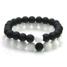Couples Beaded-Bracelets Yin-Yang Natural-Stone Black Best-Friend Women And for Classic