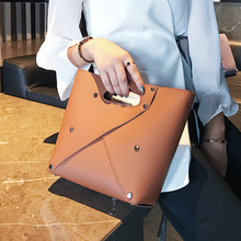 2019 New European American Simple Hollow Rivet Bucket Bag Shoulder luxury handbags women bags designer