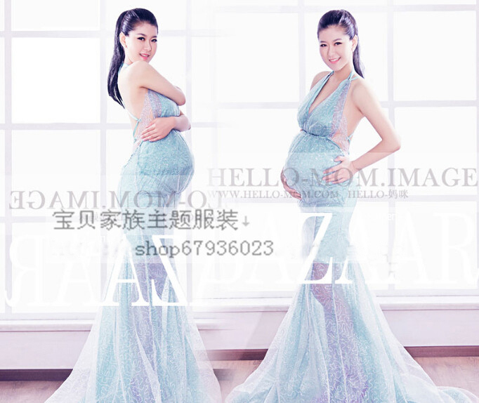 2015New Pregnant women Photography Fashion Props Dress Blue angel sexy Romatic transparent personal portrait free shipping