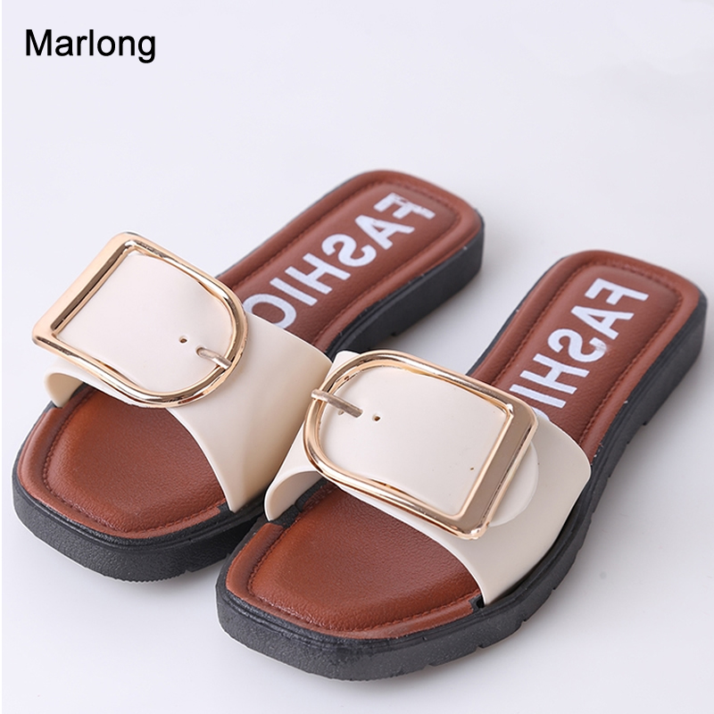 Marlong Women Slippers Ladies Buckle Summer Sandals Fashion Cut Out Beach Slides Slipper Female Summer Beach Shoes Plus Size 2016 summer patent leather buckle slides for women fashion stone upper flat platform ladies casual beach slippers sandals shoes